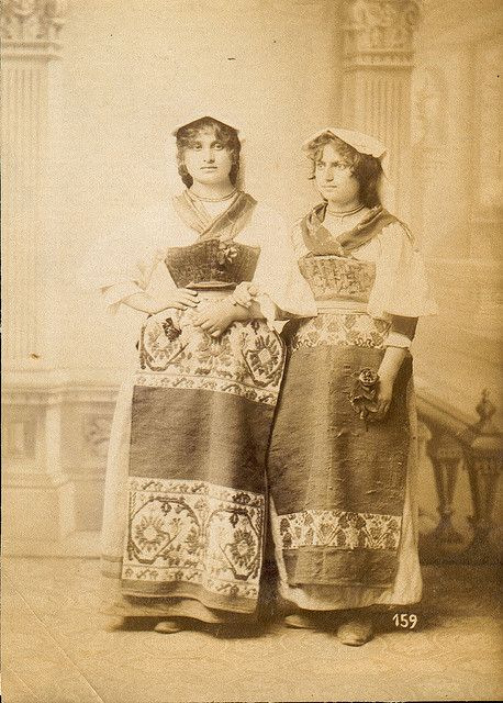 """Italian Vintage Photographs ~ Italian women in folk dresses. It shows the costumes of the Ciociaria. Ciociaria is the name of a traditional region of Central Italy, south east of Rome. The name was adopted as an ethnical denomination for the province of Frosinone. The name Ciociaria comes from the primitive footwear of its inhabitants called """"ciocie"""". The shoe is simply formed of a square piece of donkey or horse skin."""
