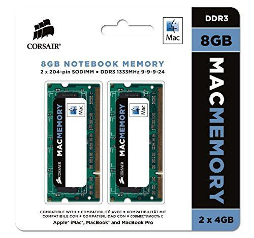 Capacity: 8GB (2 x 4GB) * Speed: 133MHz CL9; Timing: 9-9-9-24 (1333MHz); Pin Out: 204 Pin * Voltage 1.5V; Latency: CAS 9, Lifetime Warranty * Tested at Apple compatibility lab to ensure functionality with all current DDR3-based MacBook Pro, iMac, and Macbook * (Placed within the Amazon Associates program) * 14:43 Mar 16 2017