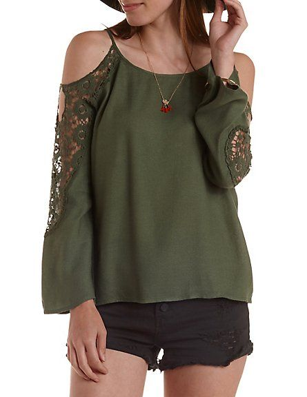 Crochet Trim Cold Shoulder Top: Charlotte Russe #offtheshoulder #top