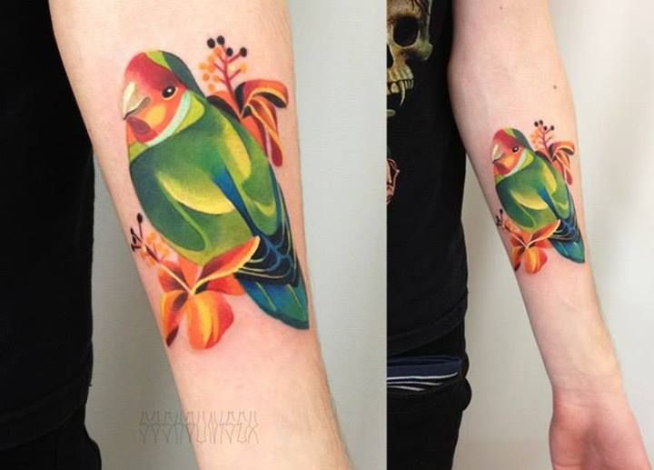Vibrant Parrot Tattoo By Sasha Unisex http://www.noregretsstudios.co.uk/watercolour-like-tattoos-by-sasha-unisex/