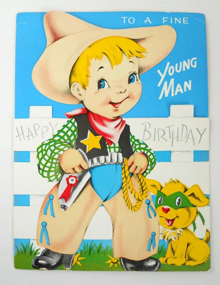 Cowboy 1952- Boy's Birthday card. $4.50, via Etsy.