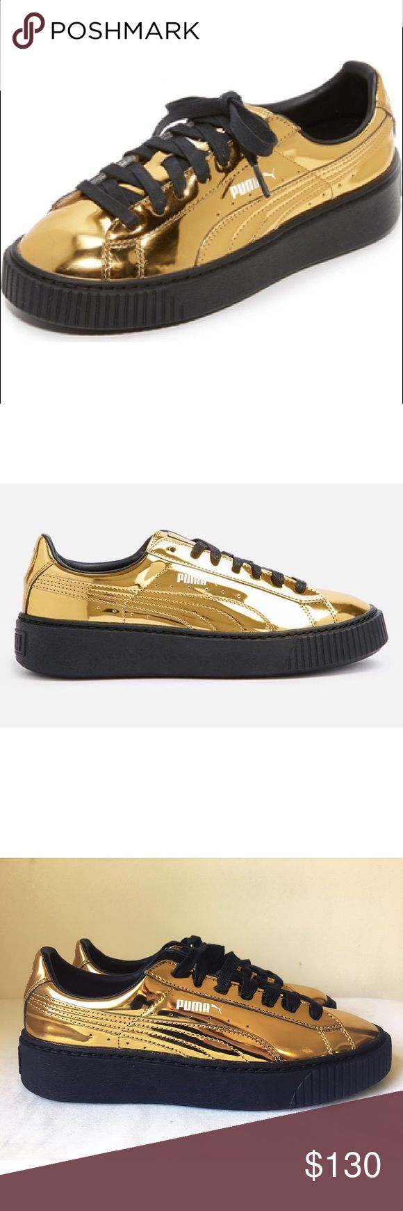 RIHANNA X PUMA CREEPER METALLIC GOLD SNEAKER SHOE Rihanna X Puma Creepers in Metallic Gold $160 retail completely sold out online in this color!!! A ridged platform lifts these glam, metallic PUMA sneakers. Logo accents at the side. Lace up closure. Rubber sole. Leather: Cowhide. Imported. 100% authentic brand new never worn perfect condition no box Puma Shoes Sneakers