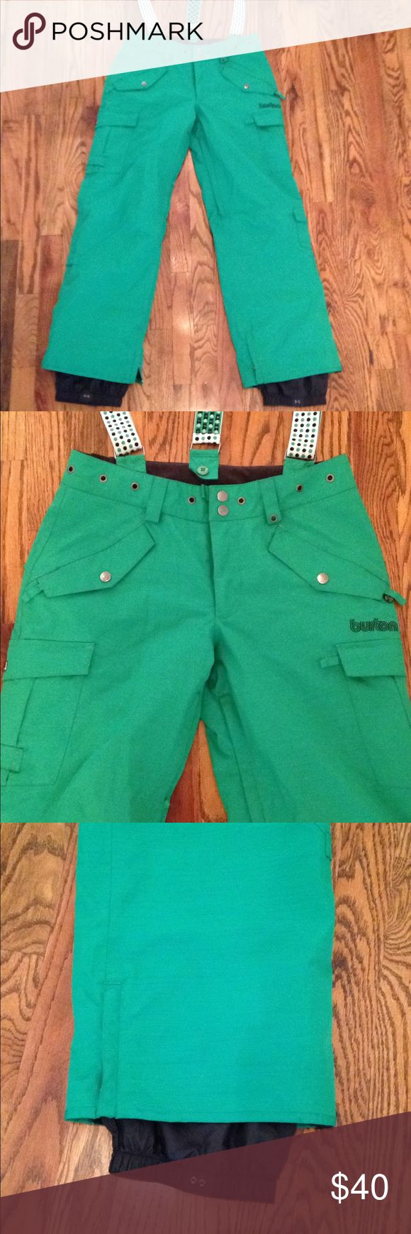 Burton Snow Boarding Pants ❄️ Bright and cheery Kelly green Boarding pants with detachable suspenders, belt loops, thigh vents and plenty of pockets. Waterproof and rad!  Only wear is as seen in photos on the bum. Everything else looks great! Burton Pants