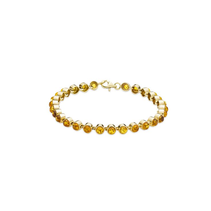 House of Amber - A charming bracelet in 14 carat gold and cognac color amber. The bracelet has a beautiful design and has 28 links.