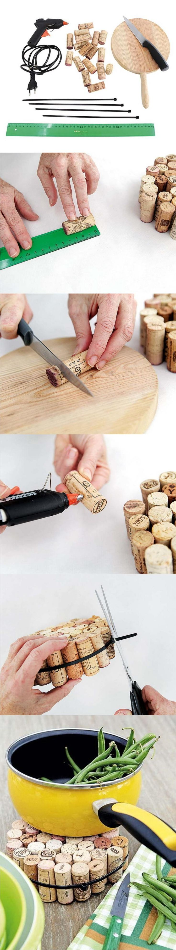 Salvamanteles con tapones de corcho - homekit.com - DIY Wine Cork Mat