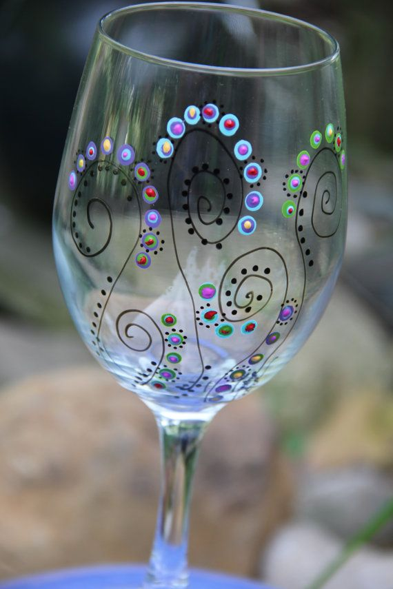 Wine Glasses - Hand Painted