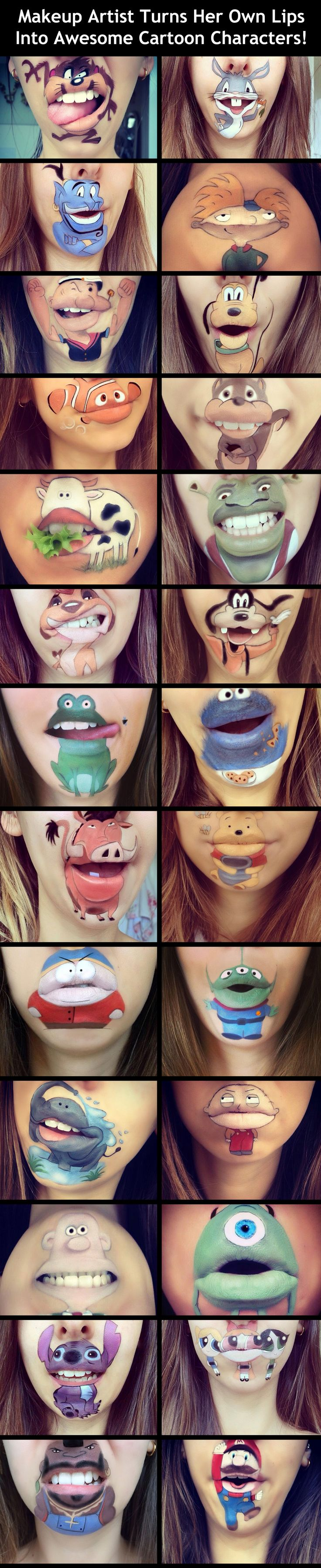 Makeup artist turns her own lips into awesome cartoon characters!
