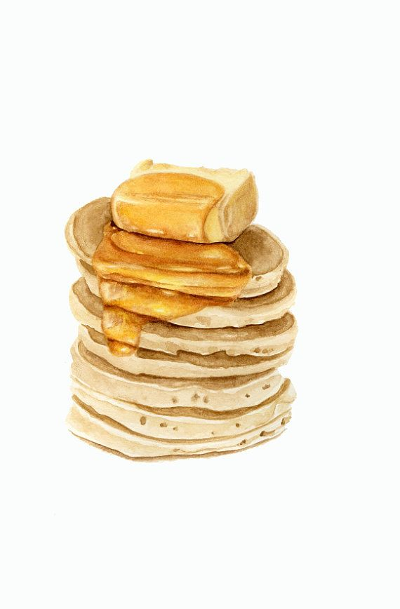 Pancakes With Butter and Honey ORIGINAL por ForestSpiritArt, £30.00