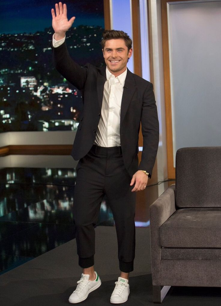 zac efron on jimmy 2015 adidas stan smith with suit get the look pinterest adidas suits. Black Bedroom Furniture Sets. Home Design Ideas