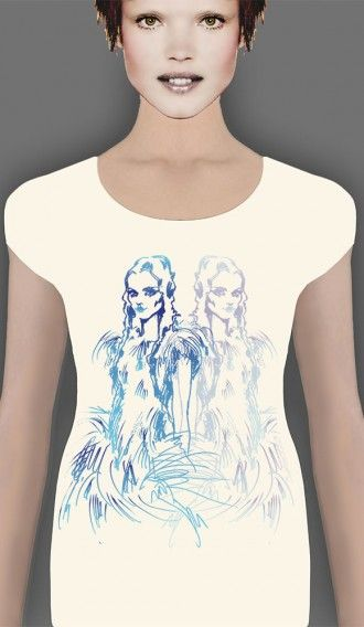 Watercolour Blue Girl Ivory short sleeve tee