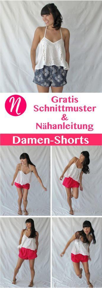 Kostenloses Schnittmuster für einen pfiffige Damenshorts zum selber nähen. PDF-Schnittmuster Gr. 2-10 ✂ Nähtalente.de - Magazin für kostenlose Schnittmuster ✂ Free sewing pattern for a woman shorts in Size 2 - 10.