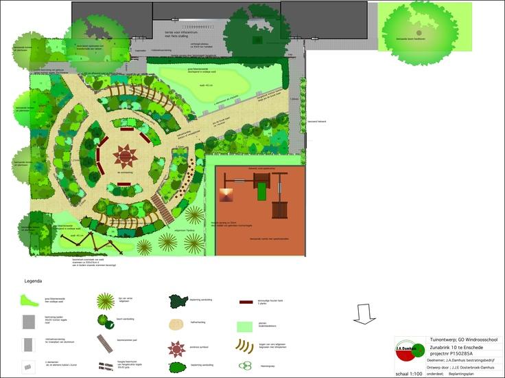 ontwerp voor buurttuin met kruiden, vlinderplanten en geurplanten er is jeu de boulebaan in verwerkt en de verhoogde borders zijn gemaakt van gehalveerde betontegels, als (half)verharding in de paden is gravier'Dor gebruikt