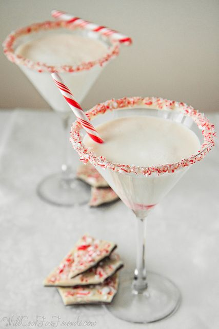 White Chocolate Peppermint Bark Martini | A couple months ago, I ordered a pound of white chocolate to play around with. A few days later, two kilograms showed up on my doorstep (over four pounds). A happy accident? I'd say so!