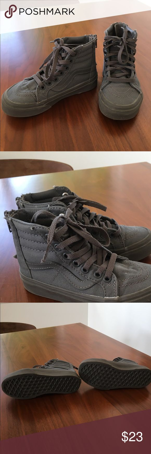 Vans little kid boy or girl. Size 11.5 Sk8 HI-zip These are in excellent condition. Only worn a few times before my son outgrew them. Nice neutral gray color for boys or girls. Zip up in the back. Size 11.5 Vans Shoes Sneakers