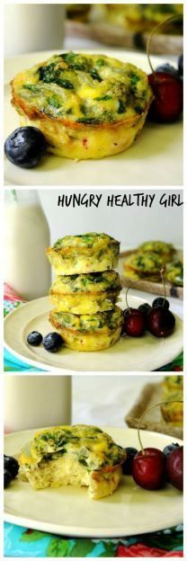 Mini Spinach Frittatas |  1 tablespoon extra virgin olive oil; 1 small onion, finely diced; 1 clove garlic, minced; 2 cups packed fresh spinach, chopped or a thawed 10-oz. box of frozen chopped spinach; squeeze dried; 10 large eggs (organic and cage-free, if possible); ½ teaspoon salt; ¼ teaspoon pepper; 2 tablespoons chopped fresh herbs (such as parsley, thyme, rosemary or chives); ½ cup crumbled feta or goat cheese (optional)
