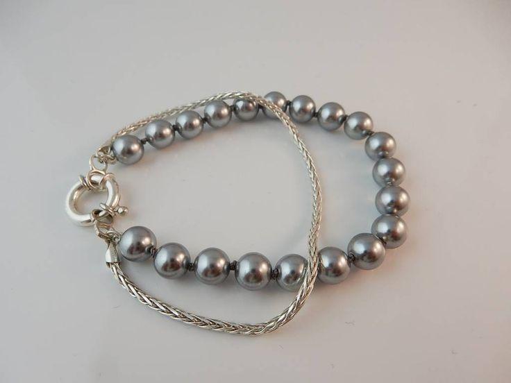 Dubbele armband zilver en 8mm edelstenen