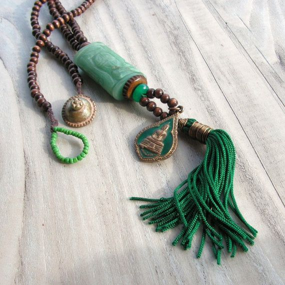 Mala Tassel Necklace in Dark Brown and Green with Buddhist Amulet Pendant