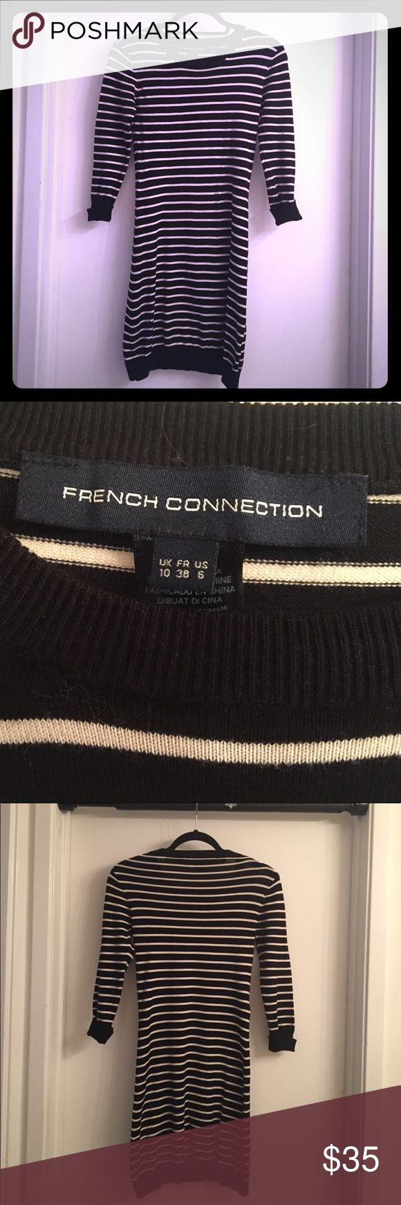 French Connection black / white striped dress French Connection black / white striped light weight form fitting sweater dress is great with ankle boots, high boots, even with blazer & heels. Dress up or down and very feel sexy & comfortable with cuffed mid length sleeves. Lightly worn. Fits sizes 0-4. French Connection Dresses Mini