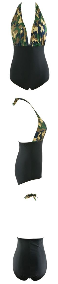 We'll be at the beach from dusk to dawn. This swimsuit features camo print, cut-out front, one piece. More surprise at azbro.com!