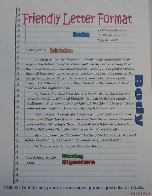 Friendly Letter Format Anchor Imagine It 5th Grade