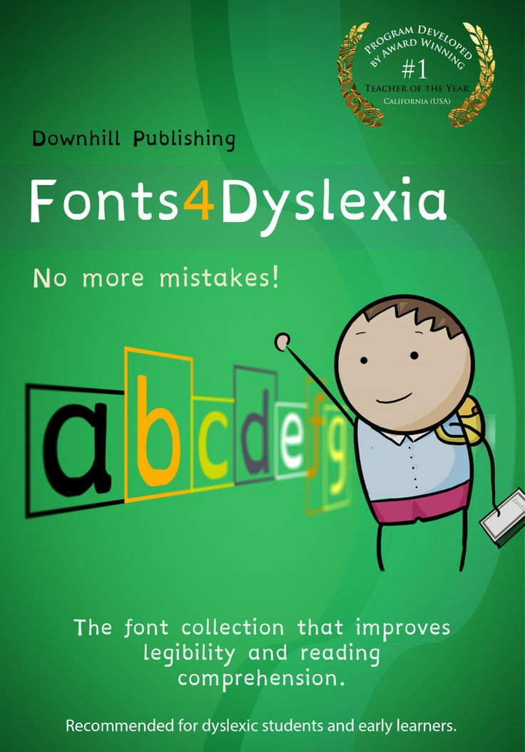 Educational Dyslexia Fonts -Beginning readers, people with dyslexia and students that learn differently have a tendency to add, rotate, transpose, reverse, swap and confuse symbols  within words throughout the learning process. Unlike other readers, dyslexics maintains these  issues throughout time, making it difficult for them to properly write and to comprehend what they're reading.