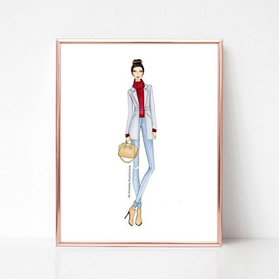 City chic, fashion illustration print, art print, sketch, croquis,