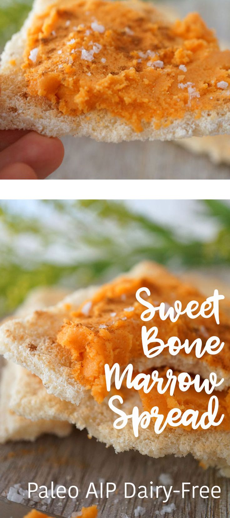 Sweet Bone Marrow Spread | Paleo AIP Whole30 | gut healing roasted bone marrow blended with sweet potato and coconut is sweet, savory & full of nutrients! Served on grain-free toast points!
