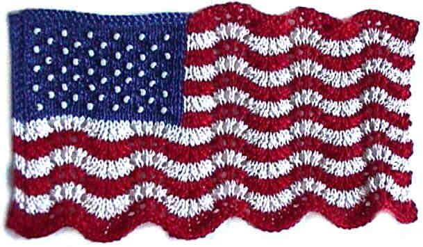 A miniature knitted version of the US flag symbolizing the stars and stripes proudly waving in the breeze. HeartStrings pattern #A91.: Miniatures Knits, Minis Lace, Minis Flags, Minis Dog Qu, Beads Flags, Fourth Of July, Ericksonschweitzermini Lace, Flags Knits, 3X5 Flags