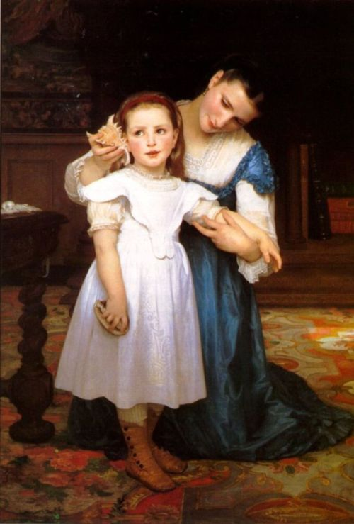 he Seashell by William Adolphe Bouguereau, 1871 France