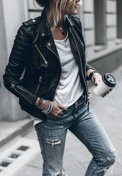 leather biker jacket. white tee. ripped jeans. #streetstyle
