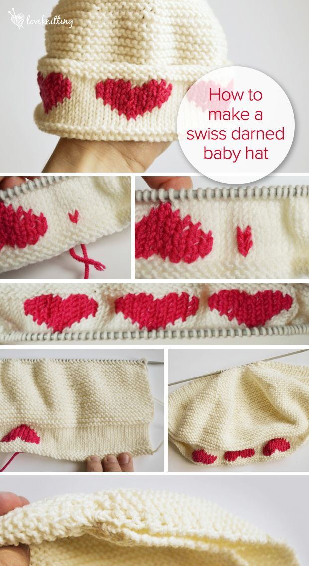 Learn with Leanne FREE knitting Tutorial: Baby Hat with Swiss Darned Hearts - LoveKnitting Blog