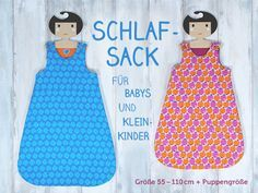 Schlafsack für Babys und Kleinkinder nähen - Nähvideo und Schnittmuster für Neugeborene und Kinder (Längen 55 bis 110 cm) - inkl. süßer Puppengröße | Freebie mit 2 Größen im pattydoo Blog