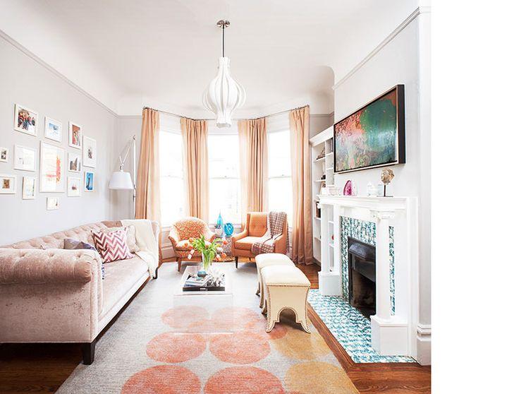 Living Room Pink Sofa Gray Walls And