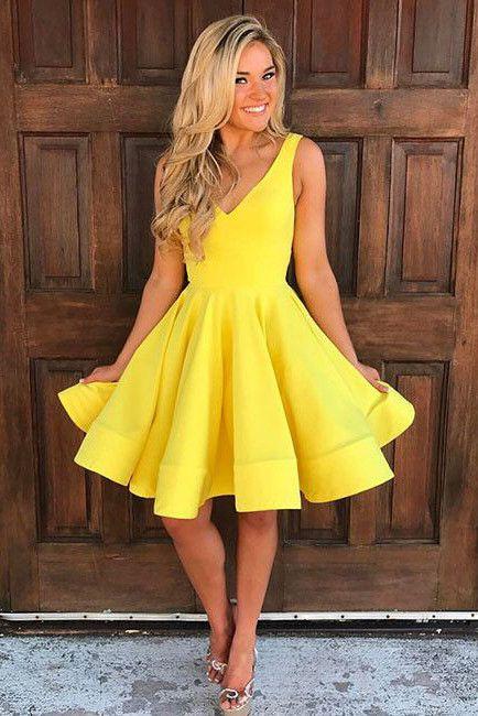 Cute V Neck Yellow Sleeveless A Line Short Homecoming/Prom Dresses OK275