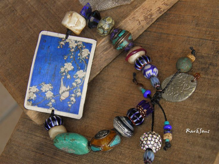 Bracelet bohème-bracelet vintage-assemblage ethnique-style asiatique-look rustique-bracelet art japonais,indigo,marine,ivoire,turquoise : Bracelet par rare-et-sens