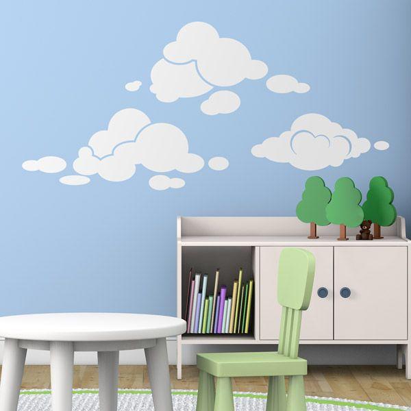 Kit nubi colore liso - Adesivi murali. Adesivi murali bambini a kit. #adesivimurali #decorazione #modelli #mosaico #nubi #StickersMurali