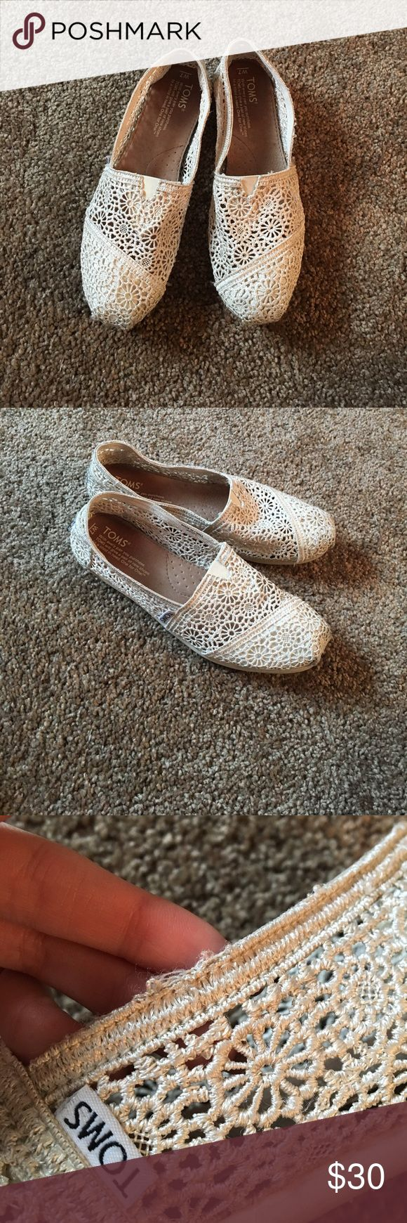 Crochet toms Cream colored crochet toms. In very good condition; only wore them a handful of times because they are too big for me, got them as a gift. There is minimal wear on them, you can see in pictures there is a tiny fray on them but otherwise good condition. Super cute for spring!  Toms tend to stretch as you wear them so it's usually best to buy a half size to a size down TOMS Shoes Flats & Loafers
