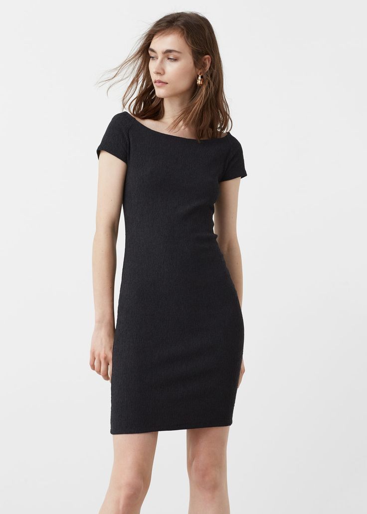 Fitted textured dress - Dresses for Women | MANGO USA