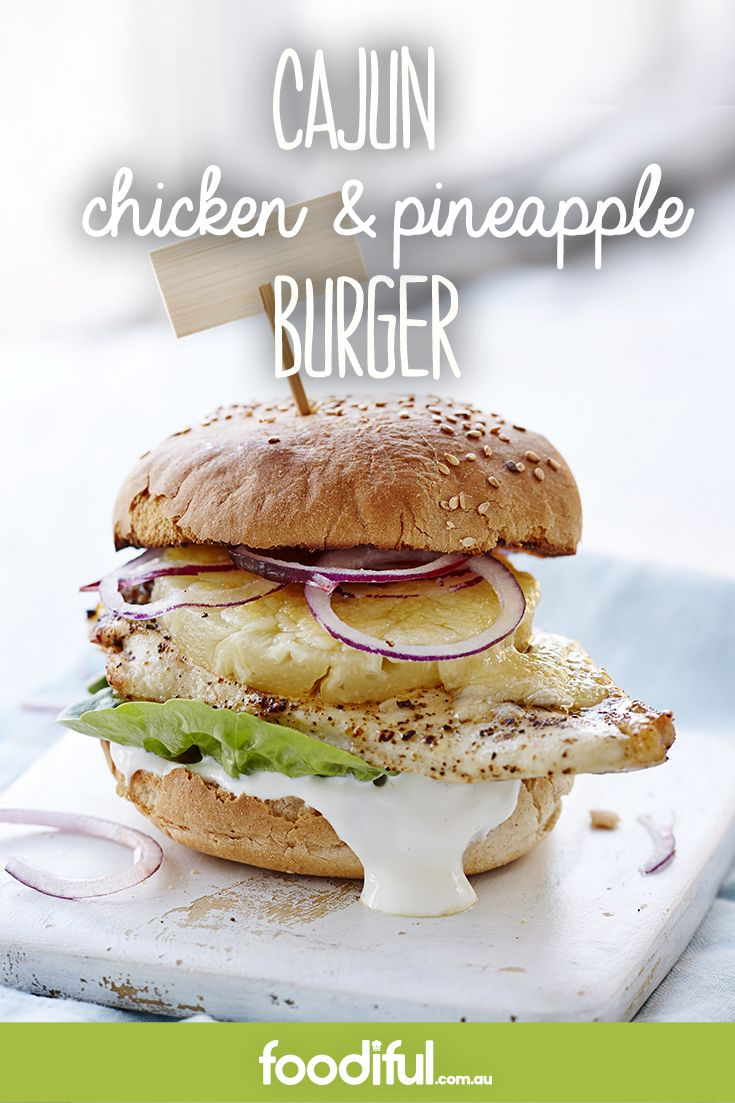 It's no secret Aussies love pineapple on their burgers. This chicken burger comes with a Cajun spice, cheddar cheese, sour cream and red onion. This recipe makes 4 burgers and takes 30 minutes.