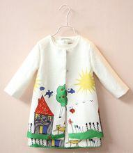 Розничная 2016 Весной и осенью моды в милане детская Платье Большие Мультфильмы graffiticartoon 2 шт. (Куртка + Платье) высокое качество(China (Mainland))