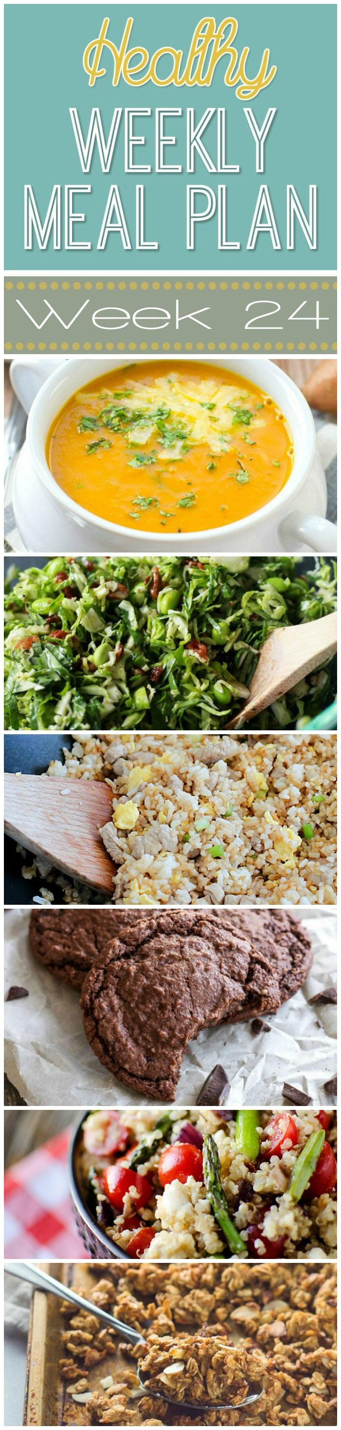 Healthy Weekly Meal Plan Week 24 is filled with so many great recipes! Lots of healthy main dishes to add to your dinner rotation! Plus a breakfast lunch snack and even an amazing dessert too!