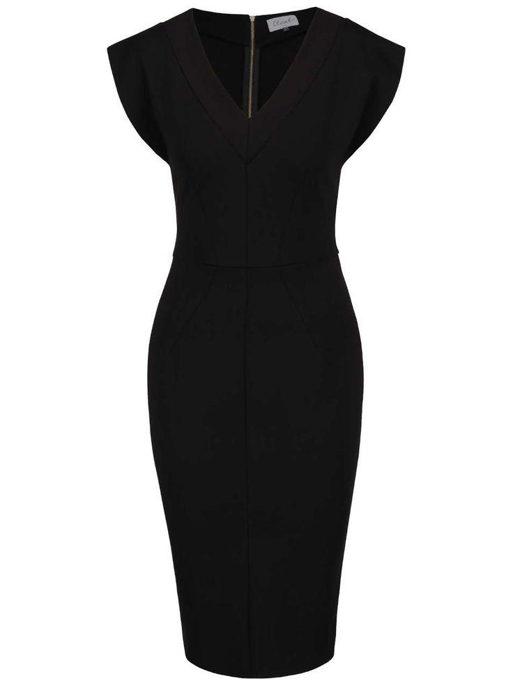 Černé šaty s véčkovým výstřihem Closet
