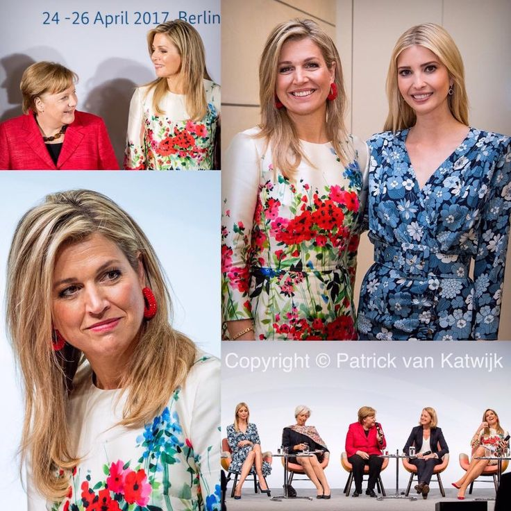 """Queen Maxima at the Women20 Summit in Berlin on Tuesday 25 April 2017. She joined German Chancellor Angela Merkel, IMF director Christine Lagarde, and """"First Daughter"""" of the United States Ivanka Trump."""