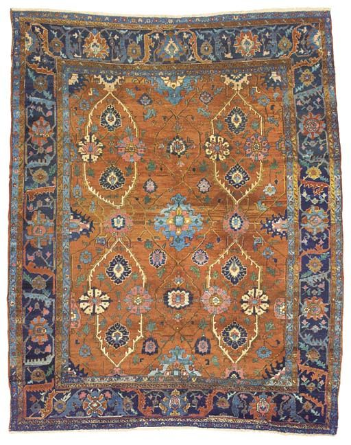 Persian Rugs: Antique Karaja carpet Christie's Lot 14  Location London, South Kensington Sale Date Jul 09, 2003  Lot Number 14 Sale Number 9664  Lot Title An antique Karaja carpet   Estimate 1,000 - 1,500 British pounds  Special Notice This lot is subject to Collection and Storage Charges. No VAT will be charged on the hammer price, but VAT at 17.5% will be added to the buyer's premium which is invoiced on a VAT inclusive basis  Lot Description An antique Karaja carpet  the shaded rust