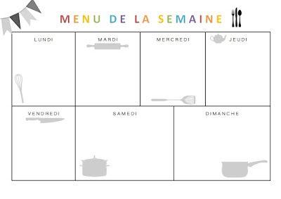 Menus de la semaine - A imprimer - Printable gratuit organisation famille menu familial   Menu ...