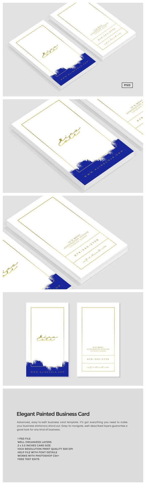 Des cartes de visites élégantes : bleu et or.  Template à acheter et personnaliser soi-même facilement avec Photoshop. ___ Elegant Painted Business Card by Design Co. on Creative Market