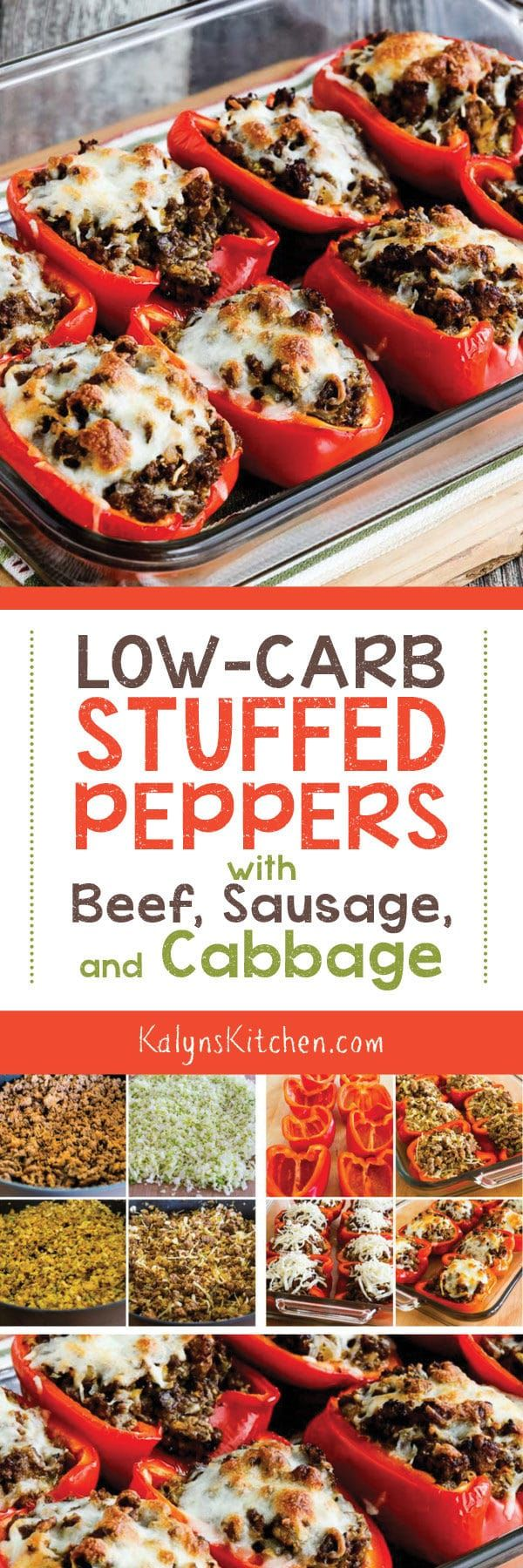 Low-Carb Stuffed Peppers with Beef, Sausage, and Cabbage found on KalynsKitchen.com