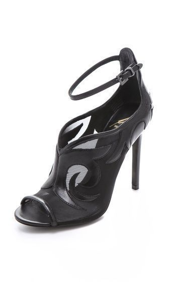 B Brian Atwood Linscott Scrolled Pumps - Swirls of leather curl across mesh B Brian Atwood booties adding serpentine movement to the sexy peep-toe silhouette. Buckled ankle strap and leather sole. #brianatwoodheelspeeptoe #brianatwoodheelspump