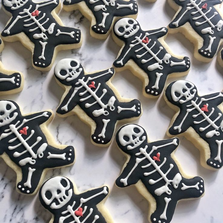 Skeleton XRay with heart gingerbread man Sugar Cookies