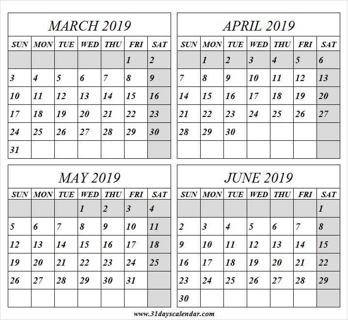 March April May And June 2019 Calendar June 2019 Calendar 2019